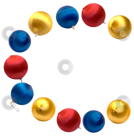 Letter C stock photo, The letter c spelled using Christmas balls, isolated on a white background by Richard Nelson