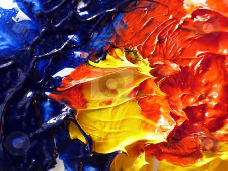 Primary paint colors stock photo, Oil paint smear of red, blue and yellow by Anita Peppers