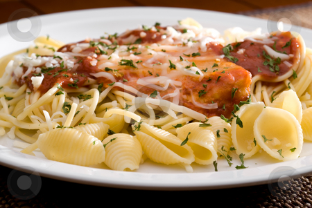 Chicken parmesan and noodles stock photo, A tilted view of a plate of Chicken parmesan and noodles by Vince Clements