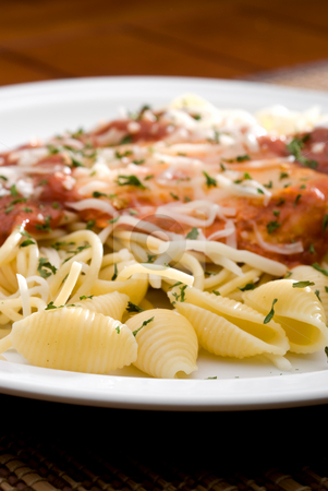 Chicken parmesan and noodles stock photo, A plate of Chicken parmesan and noodles by Vince Clements