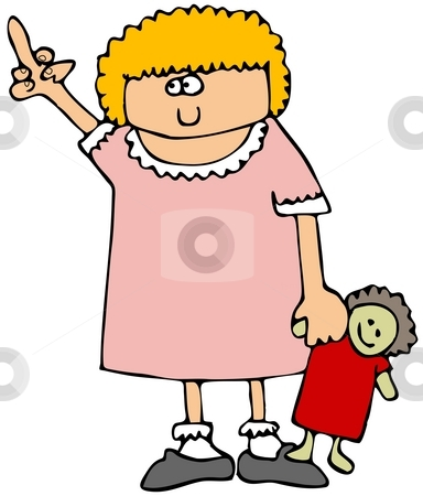 Little Girl Flipping The Bird stock photo, This illustration depicts a small girl with a doll flipping the bird. by Dennis Cox