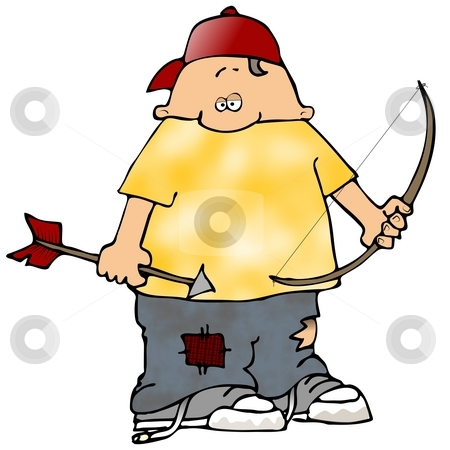 Boy With A Bow And Arrow stock photo, This illustration depicts a boy holding a bow and arrow. by Dennis Cox