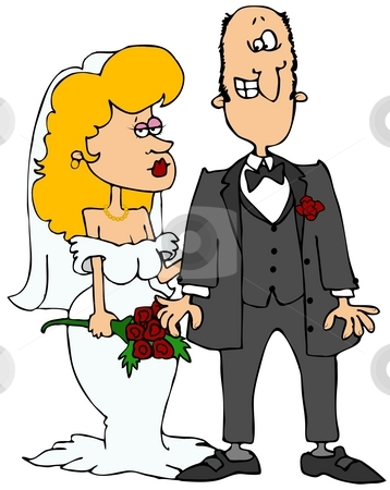 Bride And Groom stock photo, This illustration depicts a nerdy groom and a sensual bride. by Dennis Cox