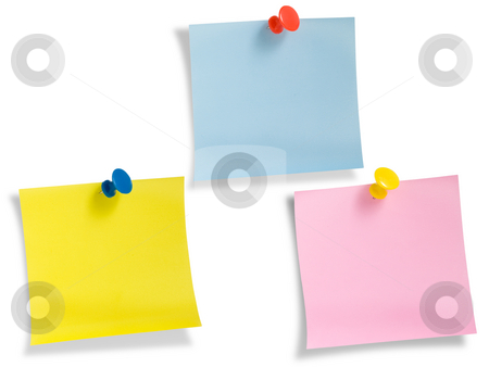 Three notes with thumbtack isolated on white stock photo, Three notes with thumbtack isolated on white background, clipping path. by Pablo Caridad
