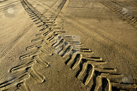 Tractor and car tracks in the sand at dusk. stock photo, Tractor and car tracks in the sand at dusk. by Pablo Caridad