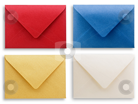 Assorted envelopes white background clipping path. stock photo, Assorted envelopes white background clipping path. by Pablo Caridad