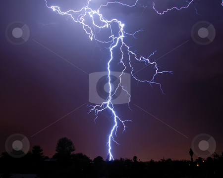 Desert Lightning stock photo, Tucson, AZ by Richard Valdez