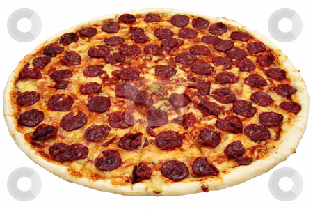 Pepperoni pizza  stock photo, Fresh pepperoni flavored pizza from a box by Jonas Marcos San Luis