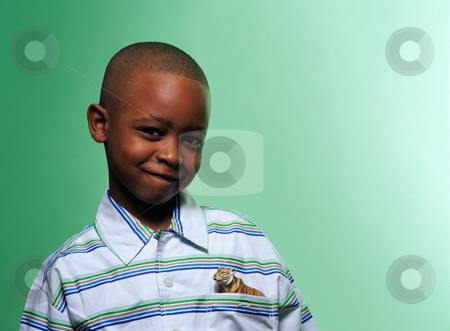 MPIXIS665009 stock photo, Boy with toy tiger in pocket by Mpixis World