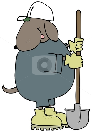Digger Dog stock photo, This illustration depicts a dog wearing coveralls and a hard hat and holding a shovel. by Dennis Cox