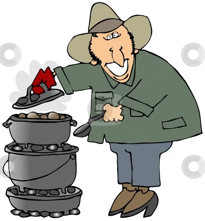 Dutch Oven Cooking stock photo, This illustration depicts a man cooking on three stacked dutch ovens. by Dennis Cox