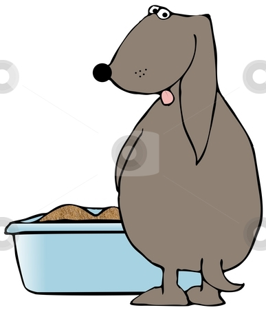 Dog Using A Litter Box stock photo, This illustration depicts a brown dog peeing in a litter box. by Dennis Cox