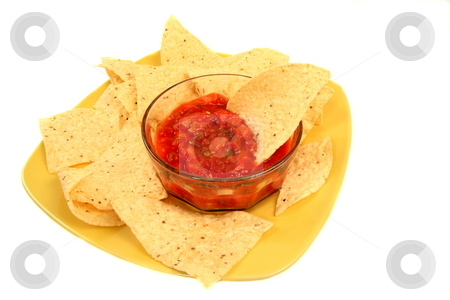 Salsa DIp stock photo, Mexican tomato dip with taco chips by Jack Schiffer