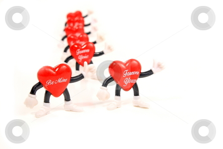 Greeting Hearts stock photo, Valentine hearts greeting waving affection by Jack Schiffer