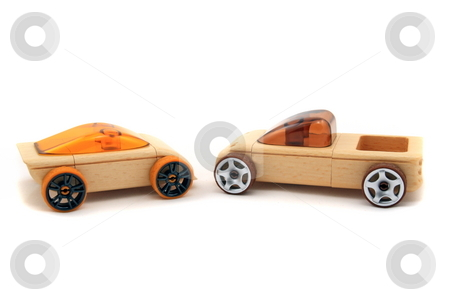 Toys stock photo, Toy wooden sports cars isolated by Jack Schiffer