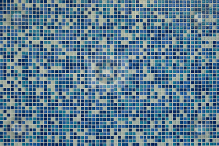 Blue Mosaic stock photo, A background of blue mosaic tiles by Stephen Gibson