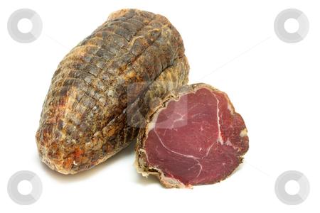 Cut capricollo stock photo, Capricollo - traditional italian bacon of Aspromonte in southern italy by Natalia Macheda