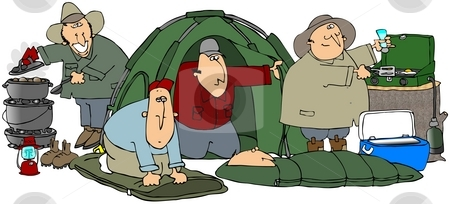 Happy Campers stock photo, This illustration depicts five men camping doing different things. by Dennis Cox