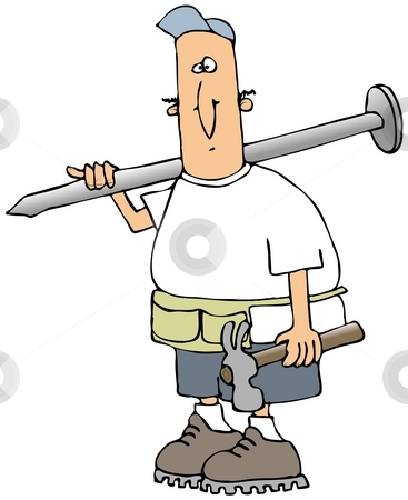 Carpenter Carrying A Giant Nail stock photo, This illustration depicts a carpenter carrying a hammer and a giant nail. by Dennis Cox