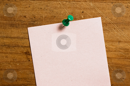 Note paper on board with pin. stock photo, Note paper on board with pin. by Pablo Caridad