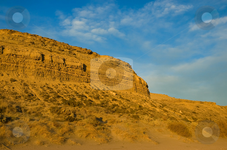Desert landscape in the coast of patagonia. stock photo, Desert landscape in the coast of patagonia with sunset light. by Pablo Caridad