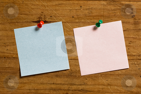 Two notes with pin. stock photo, Two notes with pin. by Pablo Caridad