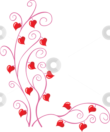 Floral corner stock vector clipart, Floral pattern with little hearts for valentine or wedding cards by Oxygen64