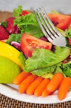 Fresh Lite Salad stock photo, A Lite Salad with a mixture of lettuce, baby carrots, tomatoes with lemon and lime on a white salad plate and designer placemat. by Lynn Bendickson