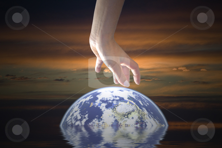 Rescue the Earth stock photo, The Earth needs your help. Computer illustration by Serge VILLA