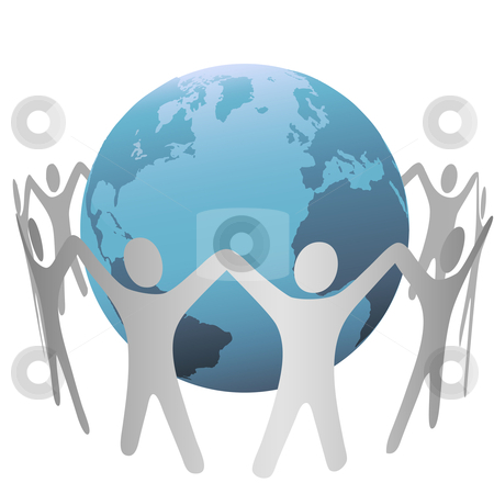 People Circle Hold Up Hands Gather Around the Earth stock vector clipart, A group of people circle around a globe of planet Earth, form a chain, hold up their hands. by Michael Brown