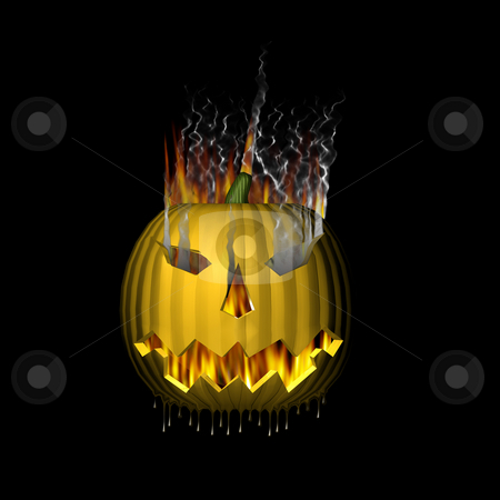 3D Pumpkin on Fire stock photo, 3D Pumpkin on fire. by John Teeter