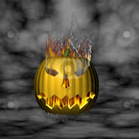 3D Pumpkin on Fire stock photo, 3D Pumpkin on fire. by John Teeter