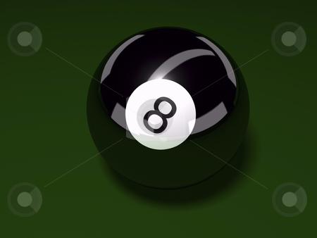 Eight Ball stock photo, 3D eight ball on felt background by John Teeter