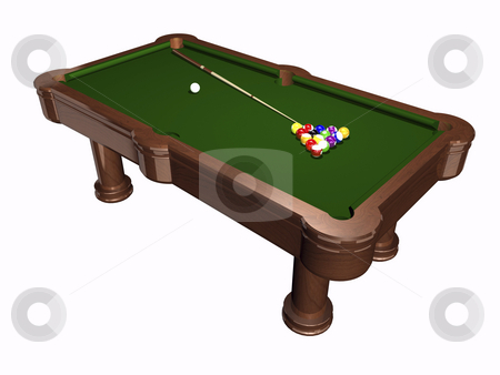 Billiards table stock photo, 3D pool table on white  background by John Teeter
