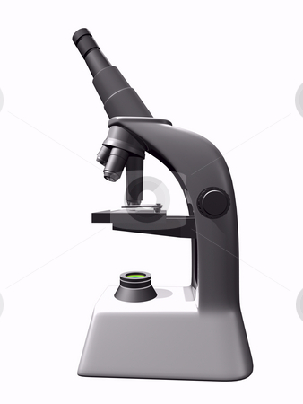 Microscope stock photo, 3D Microscope on white background by John Teeter