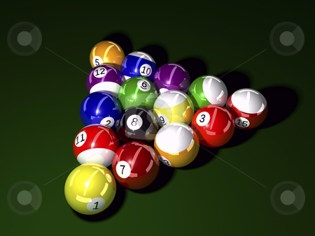 Balls Billiard stock photo, Pool balls on felt background 3D illustration by John Teeter