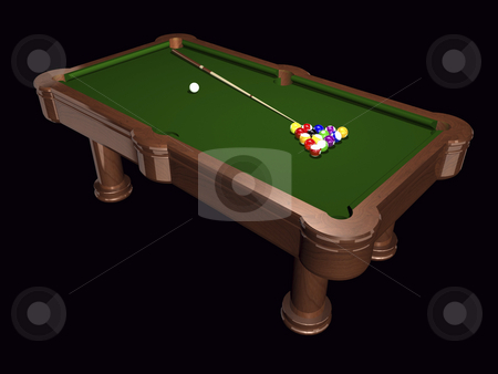 Pool Table stock photo, 3D pool table on black background by John Teeter