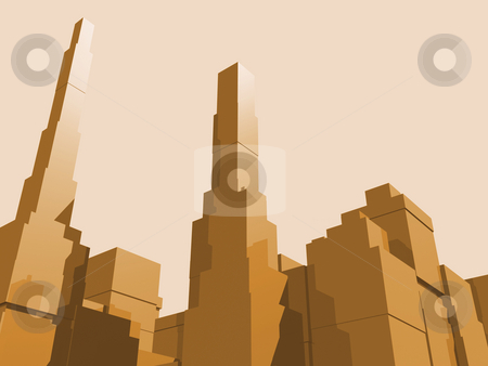 City Abstract stock photo, 3D abstract city in orange eith reflection. by John Teeter