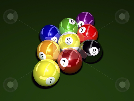Balls Billiard stock photo, Pool balls on felt background 3D illustration by John Teeter