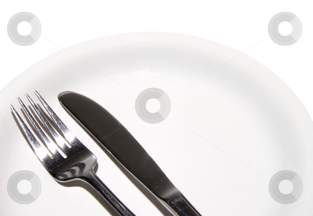 Dinnerware stock photo, A plate, fork and knife ready for some food. by Robert Byron