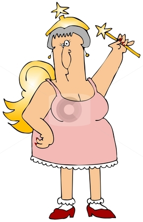Fairy Godmother stock photo, This illustration depicts an over the hill fairy godmother. by Dennis Cox