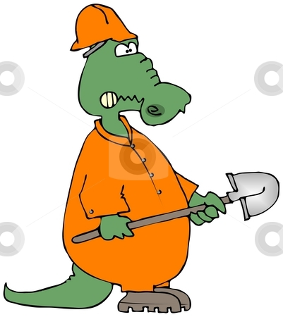 Construction Gator stock photo, This illustration depicts an alligator in coveralls and holding a shovel. by Dennis Cox