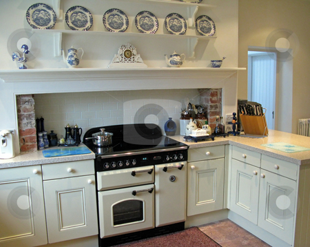 Kitchen stock photo, A traditional kitchen in an old house. by Lucy Clark