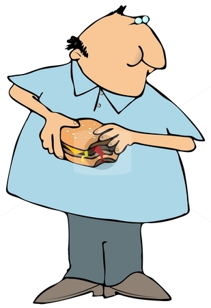 Man Eating A Hamburger stock photo, This illustration depicts a man taking a bite out of a burger. by Dennis Cox