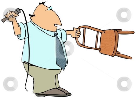 Business Tamer stock photo, This illustration depicts a businessman holding out a chair and flipping a bullwhip. by Dennis Cox