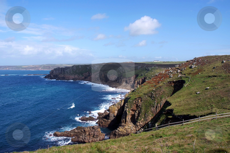 Lands End stock photo, Lands End cliffs looking out onto the Atlantic sea, Cornwall, UK by Paul Phillips