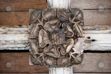 Tudor Rose stock photo, A Tudor rose carved on a church cealing by Paul Phillips