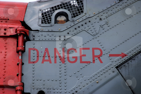 Danger stock photo, Danger sign on a helicopter, warning of rotor blade by Paul Phillips