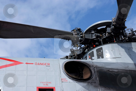 Take-off stock photo, Roror blades and warning signs of a helicopter by Paul Phillips