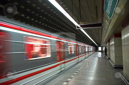 Prague Metro stock photo, Train arriving in station in Prague Metro by Pierre Landry